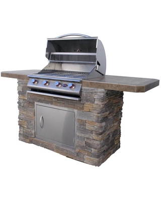 Cal Flame 87.875-in W x 32.375-in D x 38-in H Outdoor Kitchen Bar Counter with 4 Burners   BISTRO 470-AS
