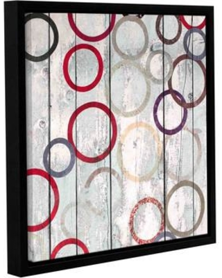 """Latitude Run Rainbow Circles IV 3 Framed Painting Print on Wrapped Canvas LTRN5273 Size: 14"""" H x 14"""" W x 2"""" D"""