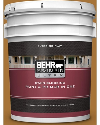 BEHR ULTRA 5 gal. #310D-7 Mayan Gold Flat Exterior Paint and Primer in One