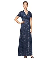 Alex Evenings Women's Long V-Neck Fit and Flare Dress Lace, Navy/Nude, 16