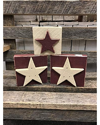 Huge Deal On Star Wood Blocks Set Of Three Farmhouse Primitive Americana Country Rustic Home Decor Tabletop Shelf Ornament July 4 Patriotic Stars And Stripes Size 4 1 2 X 4 1 2