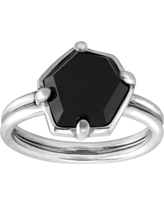 Silpada 'Black Hex' Natural Agate Ring in Sterling Silver