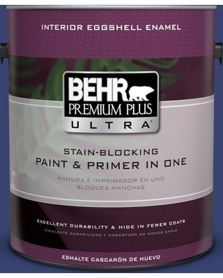 BEHR Premium Plus Ultra 1 gal. #T18-18 Constellation Blue Eggshell Enamel Interior Paint and Primer in One