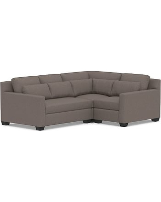 York Deep Seat Square Arm Upholstered Left Arm 3-Piece Corner Sectional, Down Blend Wrapped Cushions, Performance Brushed Basketweave Charcoal