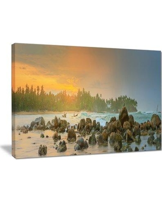 "Design Art 'Untouched Tropical Beach Panorama' Photographic Print on Wrapped Canvas PT15456- Size: 30"" H x 40"" W x 1"" D"