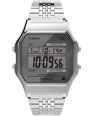 Timex T80 34mm Watch – Silver-Tone with Stainless Steel Bracelet