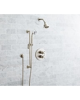 Victoria Thermostatic Cross-Handle Hand-Held Shower Faucet Set, Satin Nickel Finish