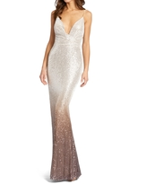 Mac Duggal Ombre Sequin Mermaid Gown, Size 0 in Mocha at Nordstrom