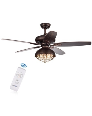 Find Deals On Fredix 5 Blade 52 Inch Speckled Bronze Ceiling Fan With Hooded Crystal Chandelier Remote Controlled