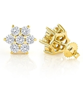 Luxurman 14k Gold 3ct TDW Unique Diamond Cluster Stud Earrings (Yellow)