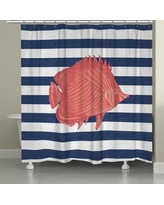 LauralHome Fish Stripe Shower Curtain FS74SC