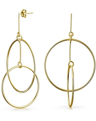 Minimalist Geometric Round Thin Two Open Circle Dangle Stud Earrings For Women 14K Gold Plated Sterling Silver 2.5 Inch - 2.63
