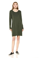 Amazon Brand - Daily Ritual Women's Jersey Long-Sleeve Scoop-Neck T-Shirt Dress, Forest Green , Large