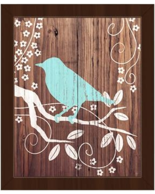 """Click Wall Art Perching Bird Turquoise Framed Painting Print on Canvas SBC0000006FRA Size: 10.5"""" H x 12.5"""" W Format: Espresso Framed"""