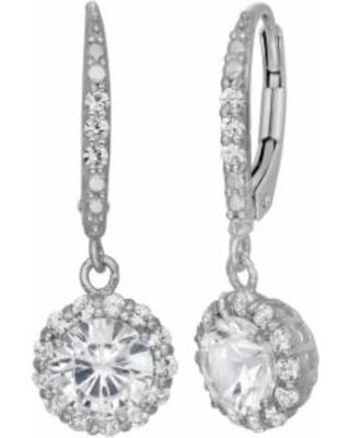 Lab-Created White Sapphire Sterling Silver Halo Drop Earrings, Women's