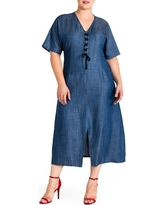 Plus Size Women's Standard & Practices Meme Tencel Midi Dress, Size 1X - Blue