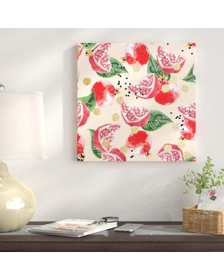 """East Urban Home 'Sweet Pomegranate' Graphic Art Print on Canvas UBNH9353 Size: 26"""" H x 26"""" W x 1.5"""" D"""