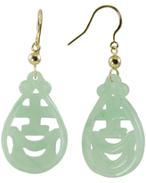 14K Yellow Gold Jade Drop Earrings, One Size , No Color Family