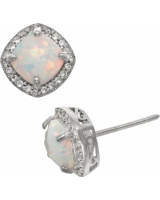 Sterling Silver Lab-Created Opal and Lab-Created White Sapphire Halo Stud Earrings, Women's