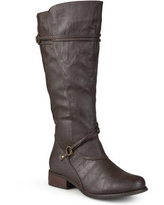 Women Buckle Accent Wide Calf Boots