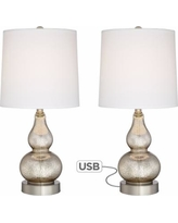 Set of 2 Castine Mercury Glass Table Lamps with USB Port