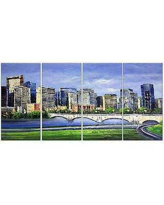 "Design Art Calgary Cityscape 4 Piece Painting Print on Wrapped Canvas Set, Canvas & Fabric in Brown/Blue/Green, Size Medium 25""-32"" 