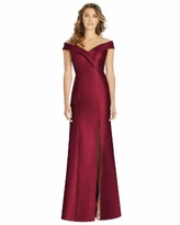 Alfred Sung Off-The-Shoulder Satin Gown - Burgundy