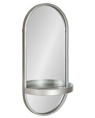 Kate and Laurel Estero Metal Wall Mirror with Shelf (11x24 - Silver)