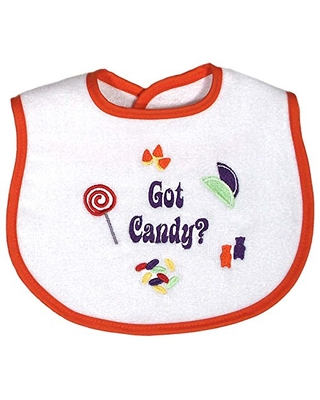Raindrops Embroidered Bib, Got Candy