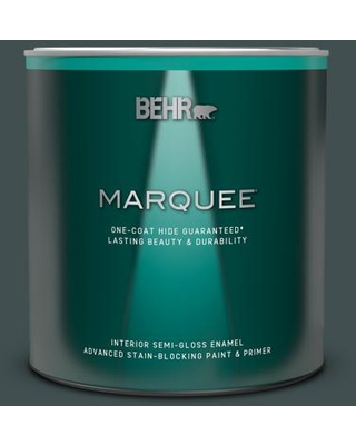 BEHR MARQUEE 1 qt. #MQ6-44 Black Evergreen One-Coat Hide Semi-Gloss Enamel Interior Paint and Primer in One