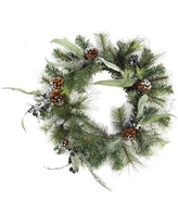 Northlight Artificial Mixed Pine with Blueberries Pine Cones and Ice Twigs Christmas Wreath with Unlit NORTHLIGHT KJI X6271