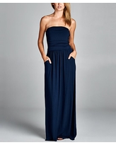 Love, Kuza Women's Casual Dresses NAVY - Navy Ruched Strapless Maxi Dress - Women
