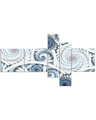 'White Spiral with Blue Fractal Art' Graphic Art Print Multi-Piece Image on Canvas East Urban Home