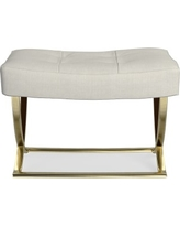 James Square Ottoman, Brass, Performance Linen Blend, Solid, Ivory