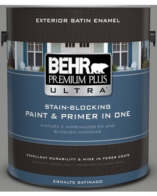 BEHR ULTRA 1 gal. #PPU24-20 Letter Gray Satin Enamel Exterior Paint and Primer in One