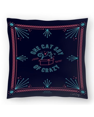 Spectacular Sales For Cat Coquillette One Cat Shy Of Crazy Throw Pillow East Urban Home Size 14 X 14
