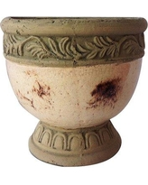 Bloomsbury Market Amedeo Hand Pressed Glazed Terracotta Hanging Planter BLMK6364 Color: Cream