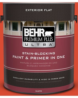 BEHR ULTRA 1 gal. #190B-7 Fire Island Flat Exterior Paint and Primer in One