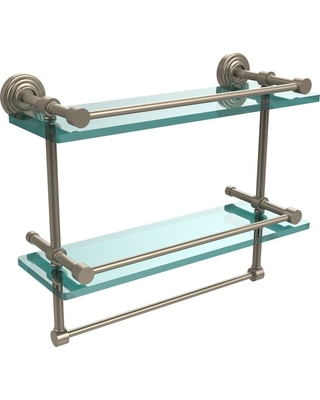 Allied Brass 16 in. L x 12 in. H x 5 in. W 2-Tier Gallery Clear Glass Bathroom Shelf with Towel Bar in Antique Pewter