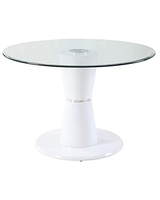 Benjara 34 Inches Round Glass Top Coffee Table with Pedestal Base, White