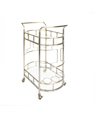 Rolling 2-Tier Serving Cart in Antique Gold Finish, Antique Gold Finish