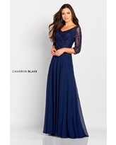 Lace Bodice A-Line Gown, Navy