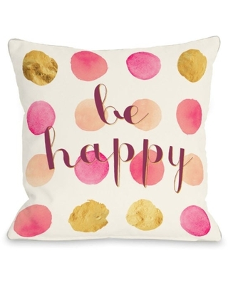 Be Happy Dots - Multi Pillow by OBC (18 x 18)