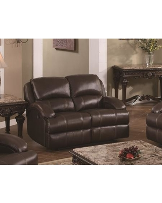"""Capri Collection CA800L-BR 62"""" Recliner Loveseat with Sinuous Seat Springs Grade Deluxe Foam Cushion Split Back Cushion and Leather Air Upholstery"""