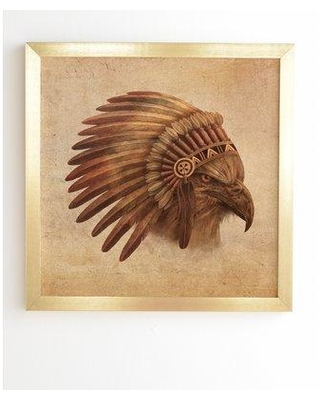 """East Urban Home 'Eagle Chief' Graphic Art Print EUHH4349 Format: Gold Frame Size: 12"""" H x 12"""" W x 1"""" D"""