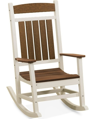 DUROGREEN Classic Rocker White And Antique Mahogany Plastic Outdoor Rocking  Chair