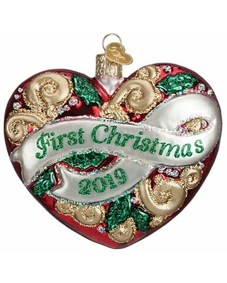2019 First Christmas Heart Hanging Figurine Ornament Old World Christmas