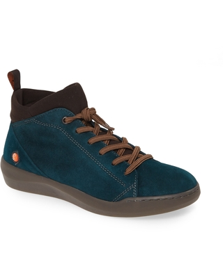 Softinos by Fly London Biel Sneaker, Size 5.5Us in Dark Petrol Leather at Nordstrom