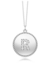 """Noray Designs 14K Gold Diamond (0.07Ct, G-H Color, SI2-I1 Clarity) A-Z Alphabet Initial Pendant, 18"""" Gold Chain (R - White)"""