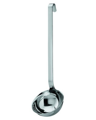 Rösle Stainless Steel Hooked Handle Ladle with Pouring Rim, 4.1-Ounce